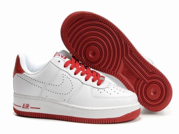 size 40 1822f 4d2b2 Wit Donker Rood Heren Nike Air Force 1 25th Low Schoenen 61356