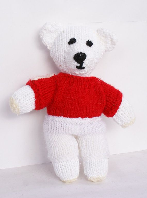 Lovely Knitted Teddy Bear Football Soccer by ModLoveVintageshop