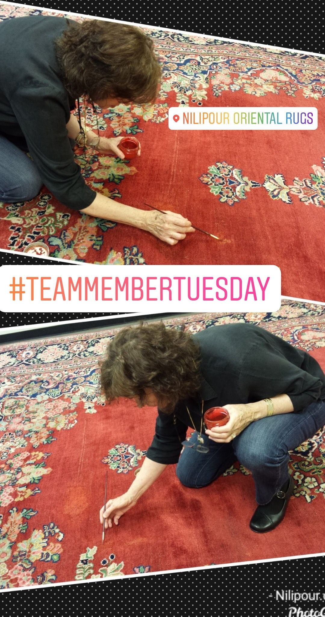 #TalentedTuesday #TeamMemberTuesday Highlighting Mrs. Nilipour and her amazing talents as she creatively preserves authenticity and restores life to this #orientalrug with the art of #overdying #since1972 our #familybusiness has been serving our community through #rugcleaning #rugrepair and #rugrestoration We can help you maintain the integrity of your family heirloom #rug #NilipourOrientalRugs #rugcleaners #arearugcleaning #orientalrugcleaning #arearugrestoration #orientalrugrestoration