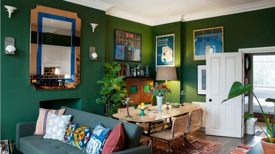 7 Clever Ways to Make Your Small Dining Room Look Larger   Green dining room. Dining room small. Country living room