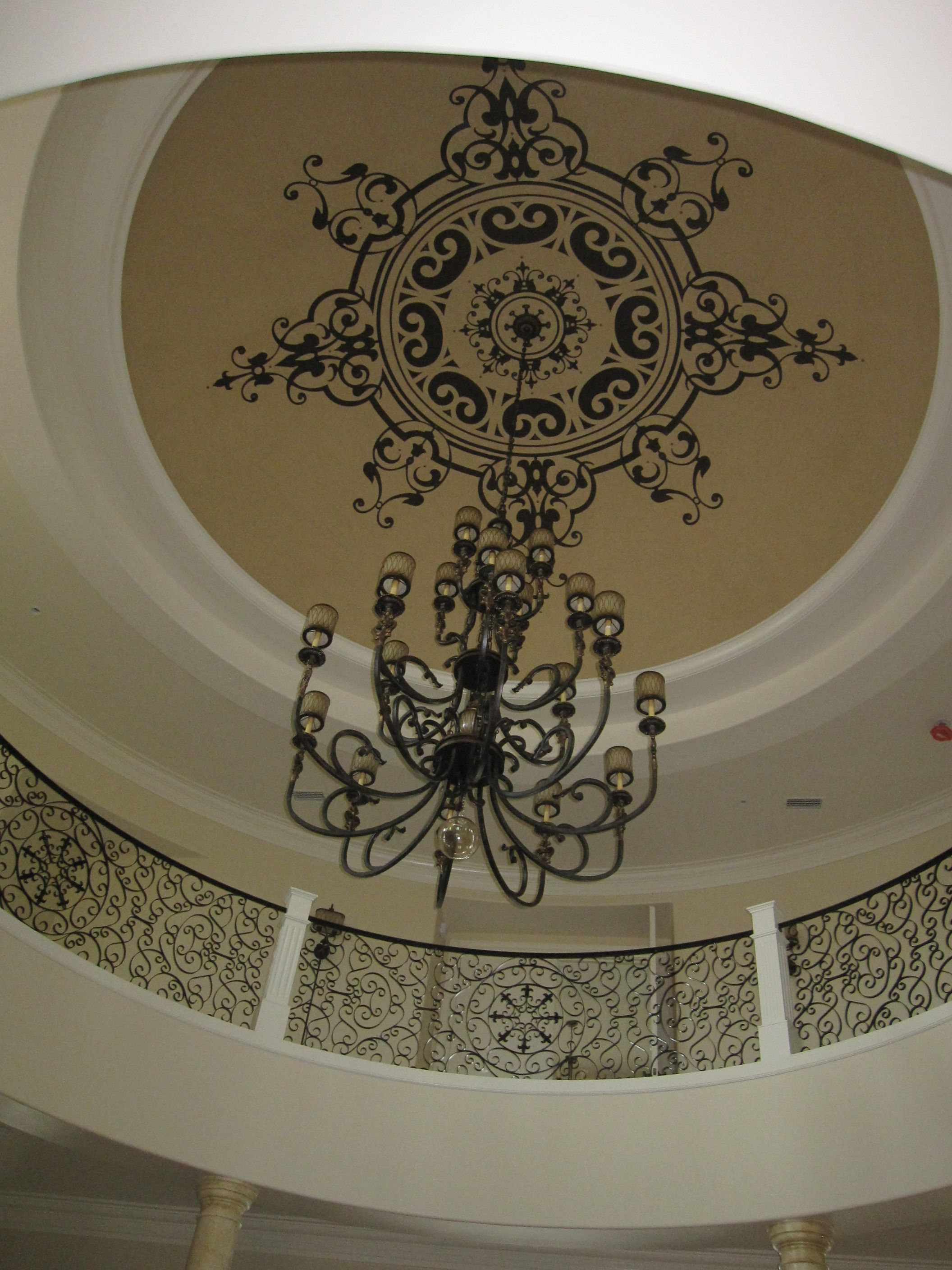 hand royal painted medallion and beautiful store ceiling elegant