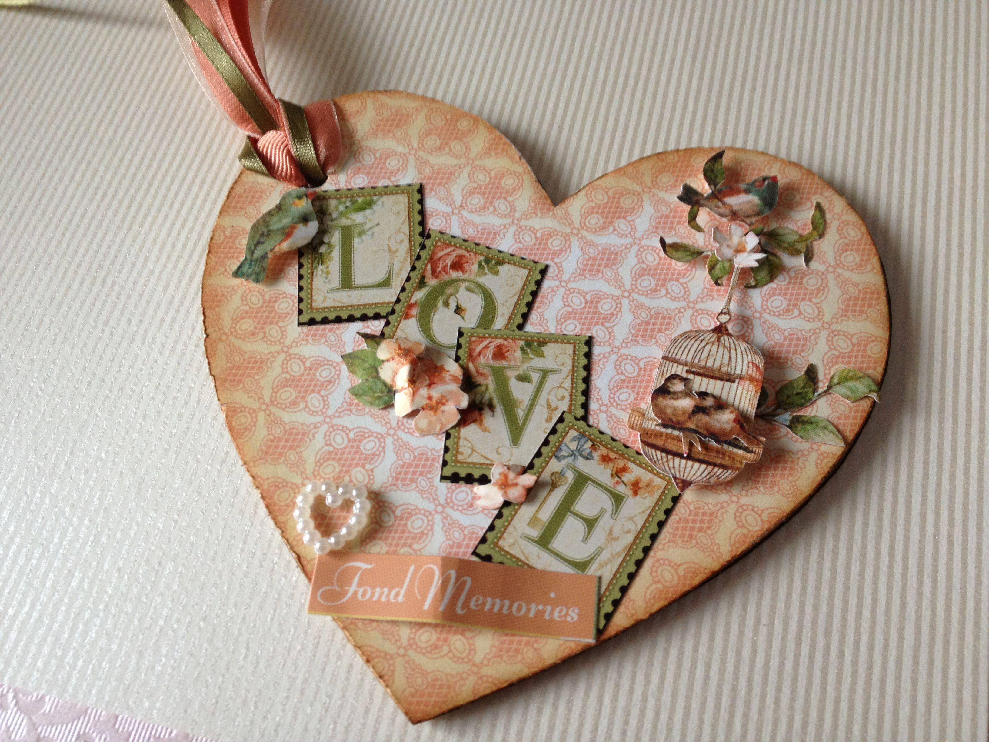 Secret garden chipboard heart with lots of fussy cutting