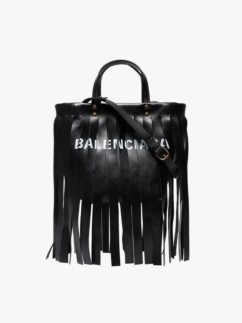 Balenciaga black fringe logo leather tote bag Browns
