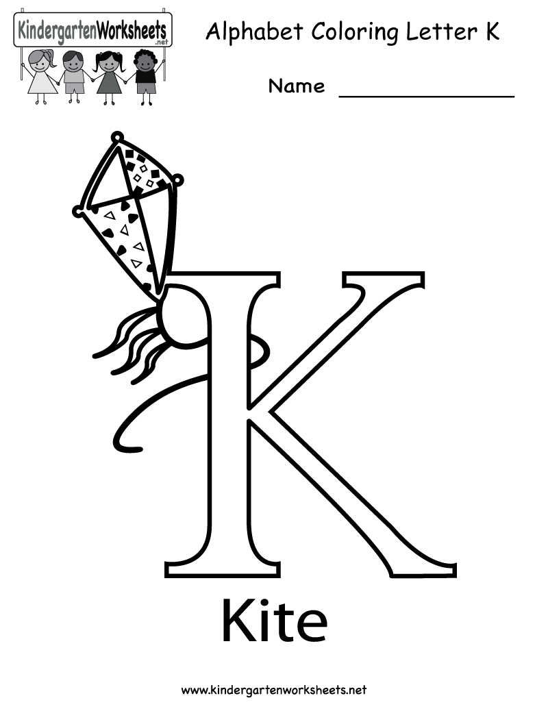 Kindergarten Letter K Coloring Worksheet Printable | Worksheets ...