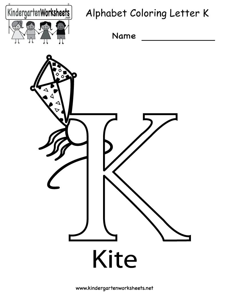 Kindergarten Letter K Coloring Worksheet Printable