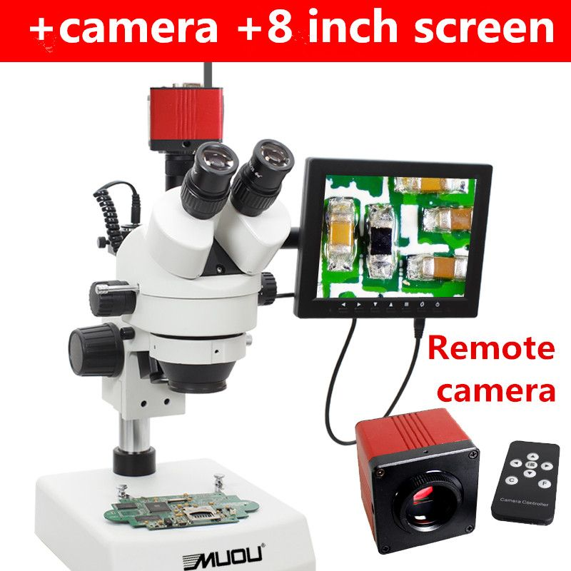 Muou7x 45x Continuous Zoom Binocular Stereo Microscope Inspection Pcb Repair Two Led Light Source Camera 8 Inch Screen Stereo Microscope Remote Camera Camera