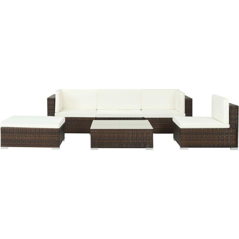 Salon De Jardin 6 Pcs Avec Coussins Resine Tressee Marron Vidaxl Outdoor Sofa Outdoor Furniture Furniture
