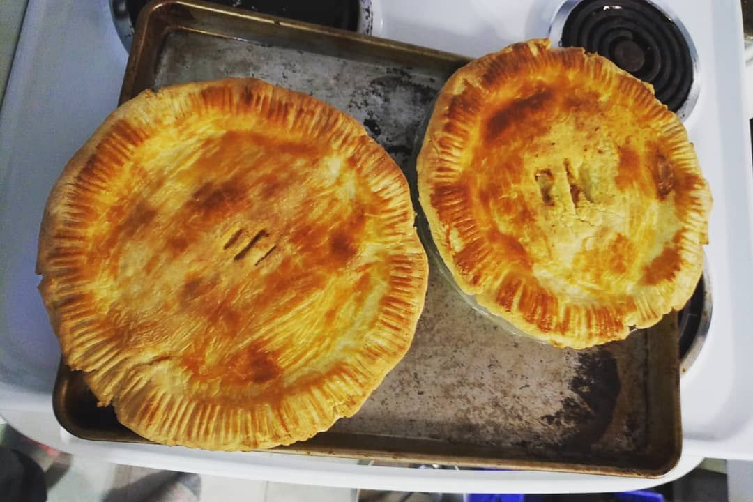 Two homemade from scratch chicken pot pies (using @jacqmariehines s pastured chicken!)! YUM!! Just t...