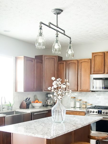 a galvanised pipe ceiling light fitting adds industrial style to a traditional kitchen. You can & a galvanised pipe ceiling light fitting adds industrial style to a ... azcodes.com