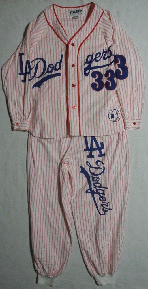 a6e63f64ef8 Los Angeles Dodgers 33 Baseball Jersey Esleep Pajama Set Vtg Shirt Pants  Large #Esleep #LosAngelesDodgers