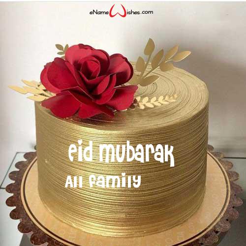 Rose Flower Eid Cake With Name Enamewishes Eid Cake Eid Mubarak Wishes Happy Eid Mubarak Wishes