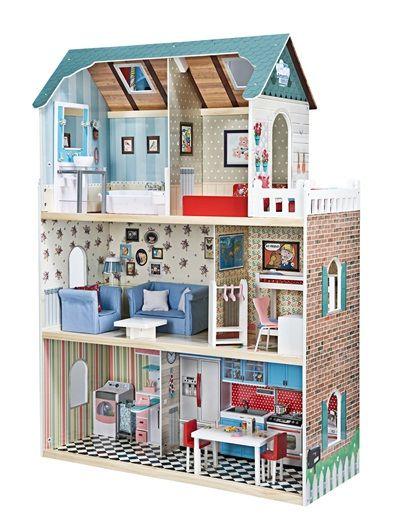 maison de poup es en bois amanda family multicolore vertbaudet enfant barbie poup e cabane. Black Bedroom Furniture Sets. Home Design Ideas