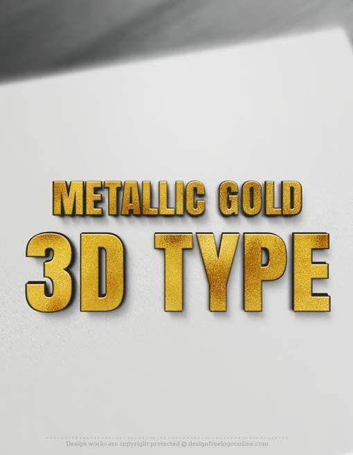 3D Letters - Metallic Gold 3D Type | Custom Graphic Design | Custom