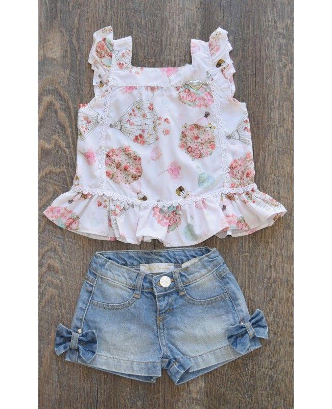 Conjunto shorts jeans e bata Gabriela Aquarela  903f6d04387