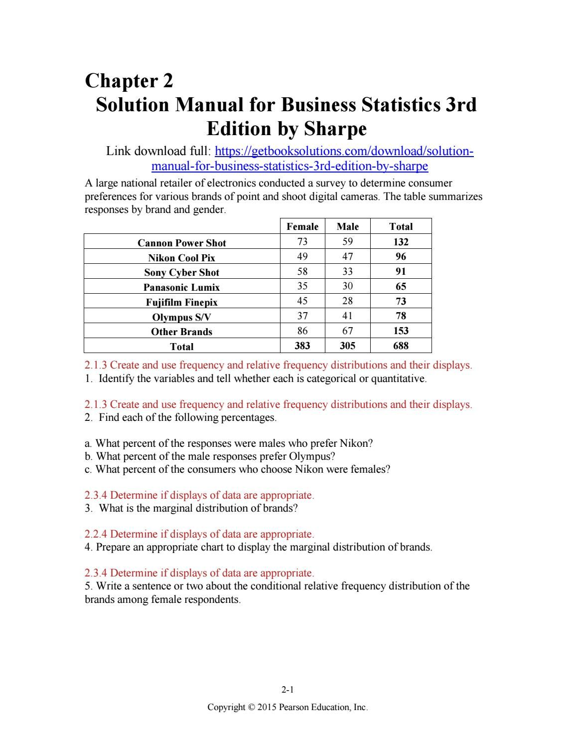 Solution manual for business statistics 3rd edition by sharpe
