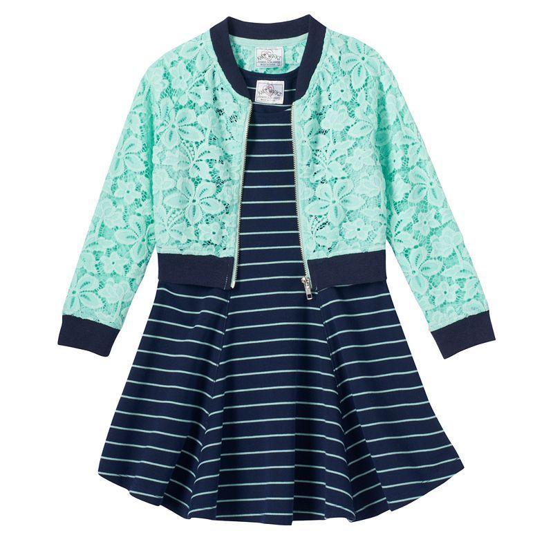 Girls 4-6x Lace Jacket & Striped Dress Set, Girl's, Size: 6X, Green Oth