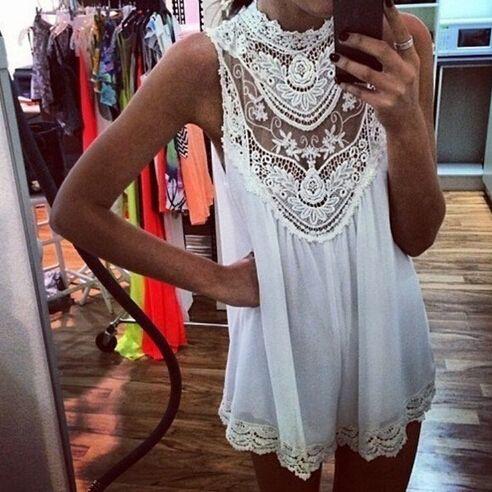 White stitching lace sleeveless dress AX091304ax