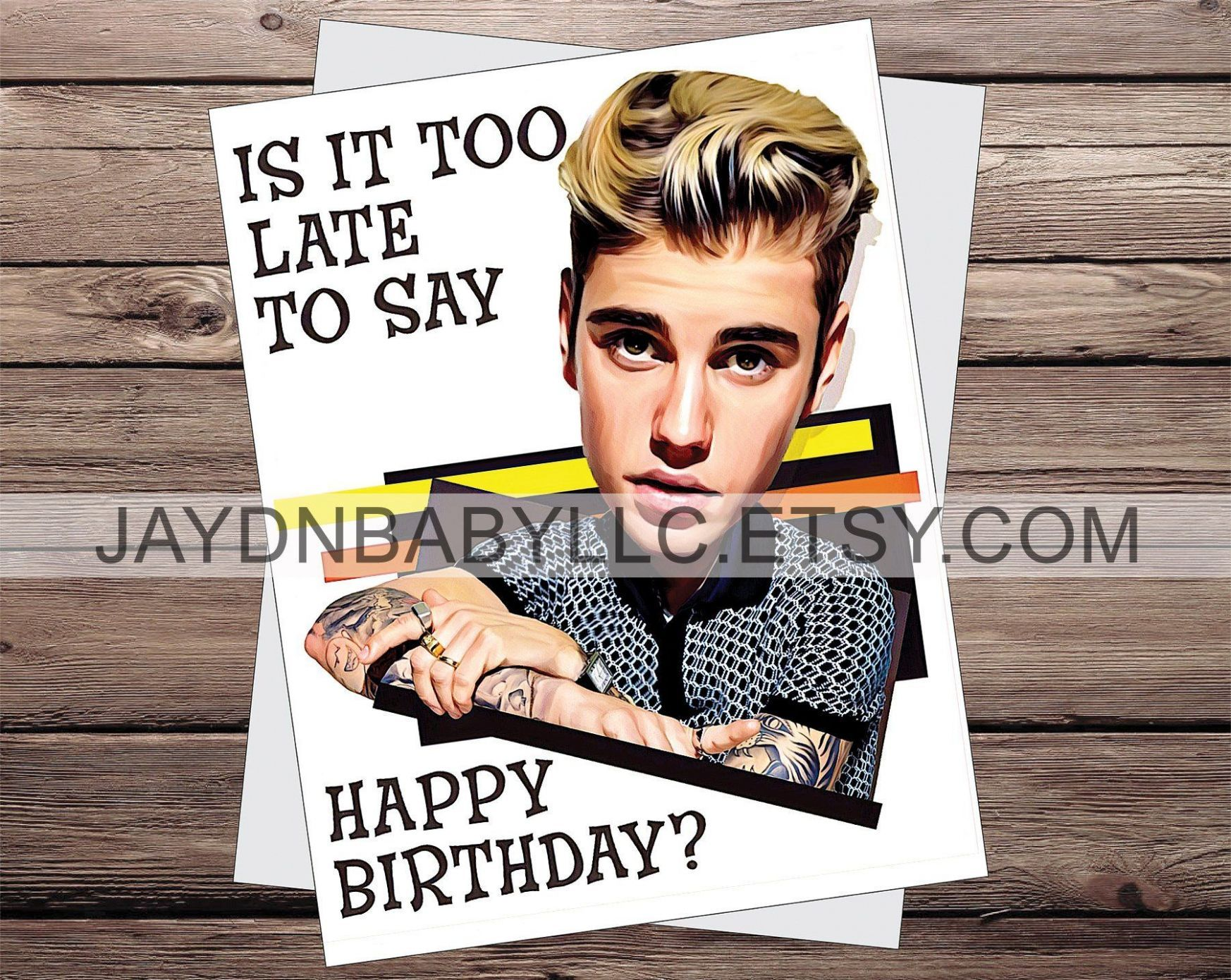 5 Justin Bieber Happy Birthday Card di 5