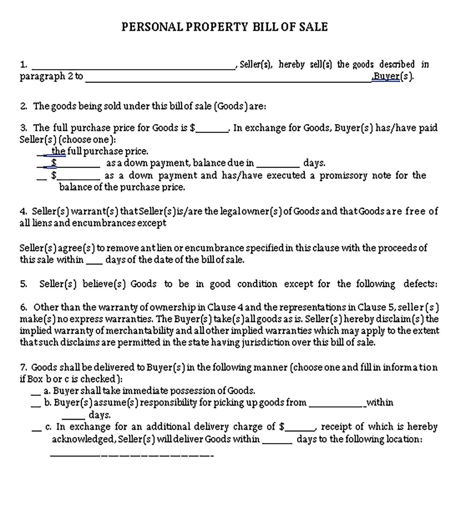 Sample General Bill Of Sale