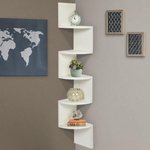 Large Corner Wood Zig Zag Wall Shelf White Finish Home Decor Furniture Wall Shelves Design Decorating Shelves Furniture Decor