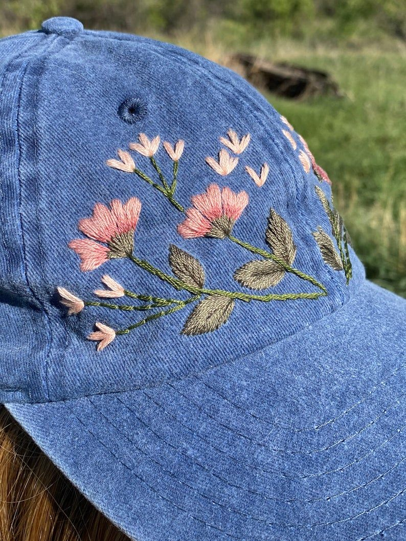 Hand Embroidered Denim Hat With Pink Florals Etsy In 2021 Hat Embroidery Embroidered Hats Embroidery Jeans Diy