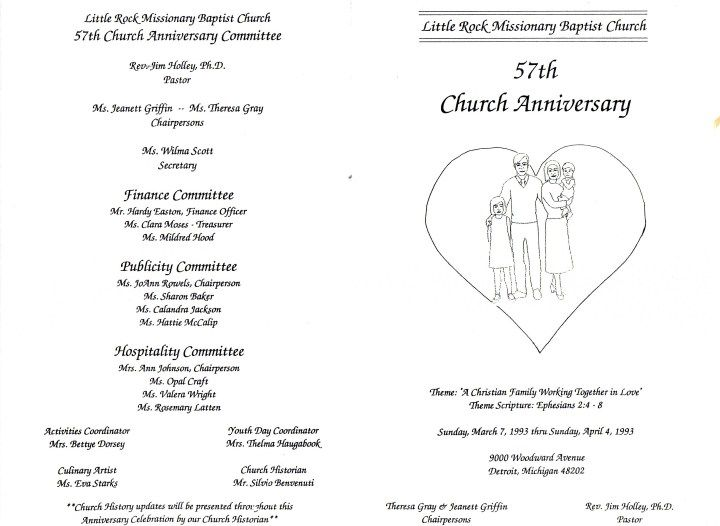 Church Program Cego Baptist Church Th Anniversary Program Two Equal