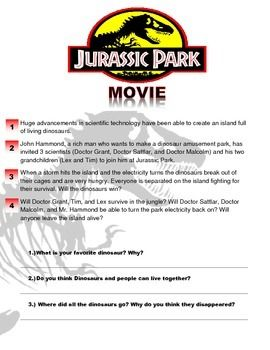 Jurassic Park Movie Worksheet | Jurassic park, Science ...