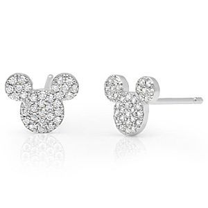 Mickey Mouse Icon Stud Earrings By Crislu Platinum Disney These Stunning Feature S Head With