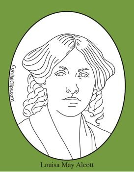 louisa may alcott clip art coloring page or mini poster