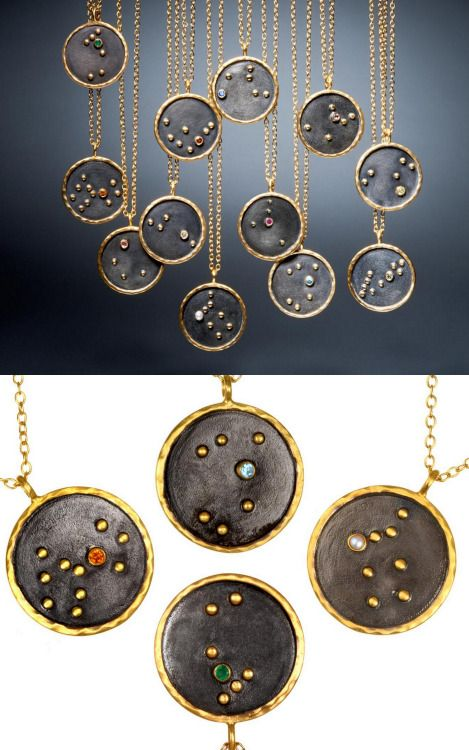 DIY Inspiration: Zodiac Constellation Necklaces by Satya Jewelry.These $98 necklaces (sold out right now), using expensive materials, would make a wonderful gift. Or you can make a much less expensive version using polymer clay and embedding beads and crystals into the surface. If you do use polymer clay remember that anything it touches while unbaked can never be used with or on food again.For other unique zodiac and constellation DIYs go here.You can download this zodiac chart by Gloria Fo...