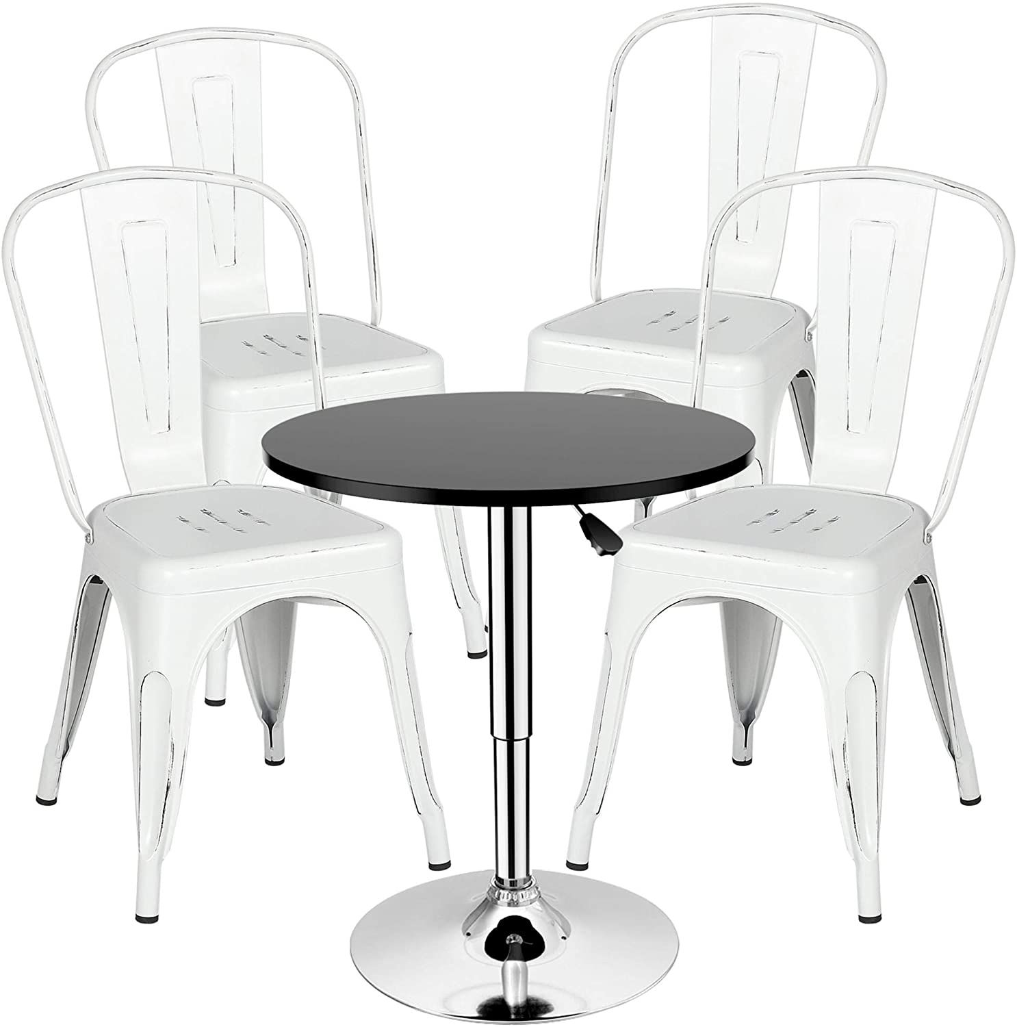 Yaheetech Set of 8 Metal Kitchen Dining Chairs Distressed White