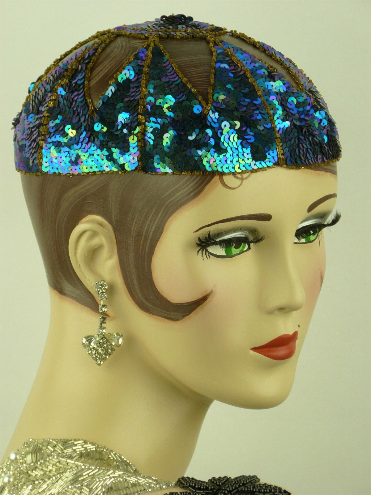 Hat Original French 1920s Flappers Sequin Juliette Cap Vivid Blue Bead.