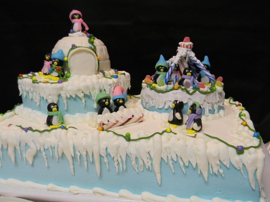penguin cake | full sheet cake with a hexagon cake under a Rkt Igloo covered with ...