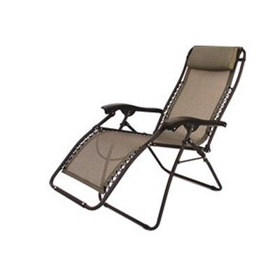 Folding Camping Xl Recliner Chair Beige Rv Patio Chair