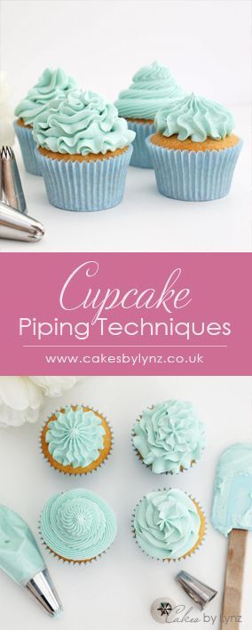 4 different Cupcake Piping techniques using different piping tips to give different effects. #cupcakefrostingtips