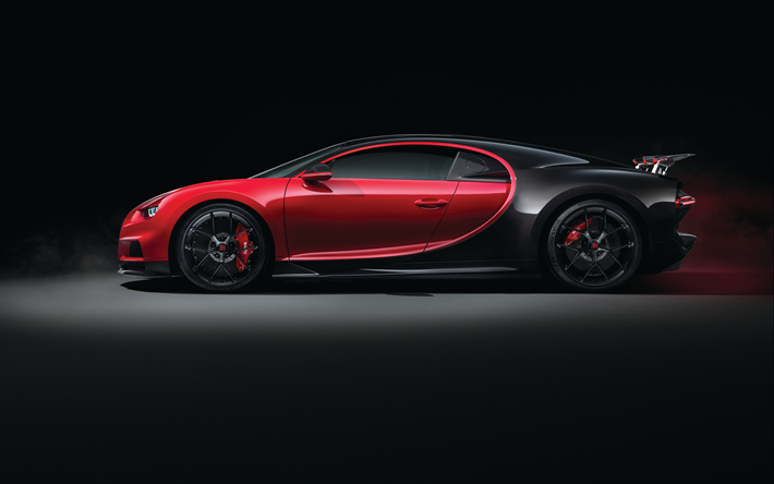 Download Wallpapers 4k Bugatti Chiron Side View 2018 Cars Red