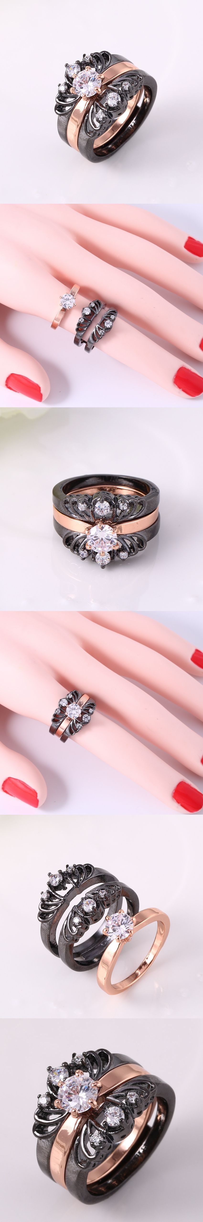 ZHE FAN NEW Women 3 Rings Set AAA Zirconia Black Gold Color Fashion ...
