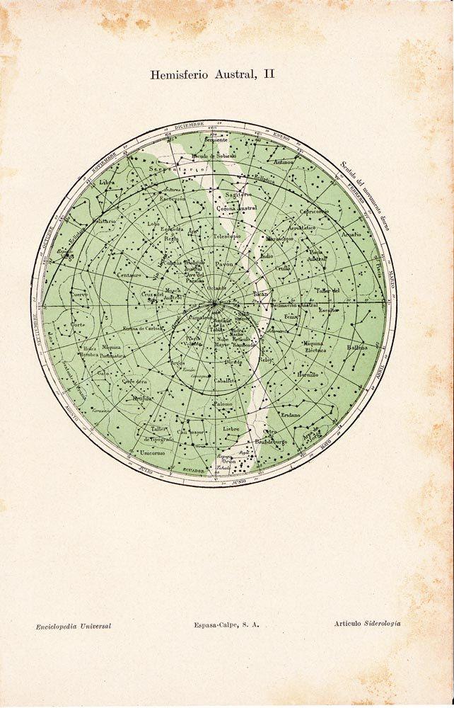 Sky Chart Southern Hemisphere  Astronomy Vintage Print  1923. $18.00, via Etsy.