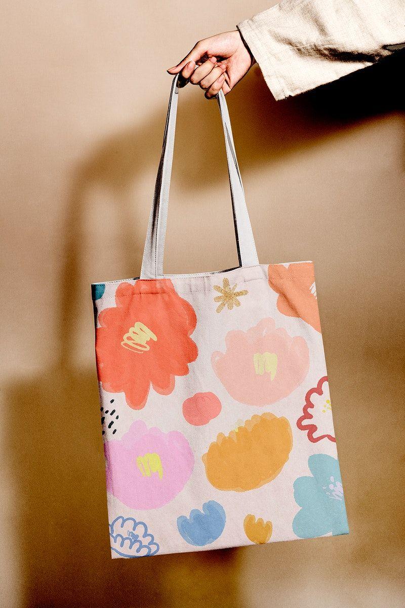 Download Colorful Floral Tote Bag Psd Mockup Free Image By Rawpixel Com Adj Tote Bag Floral Tote Bags Bag Mockup
