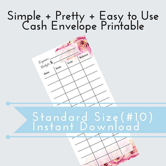 DIY Cash Envelope, Printable Cash Budgeting Template, Dave Ramsey