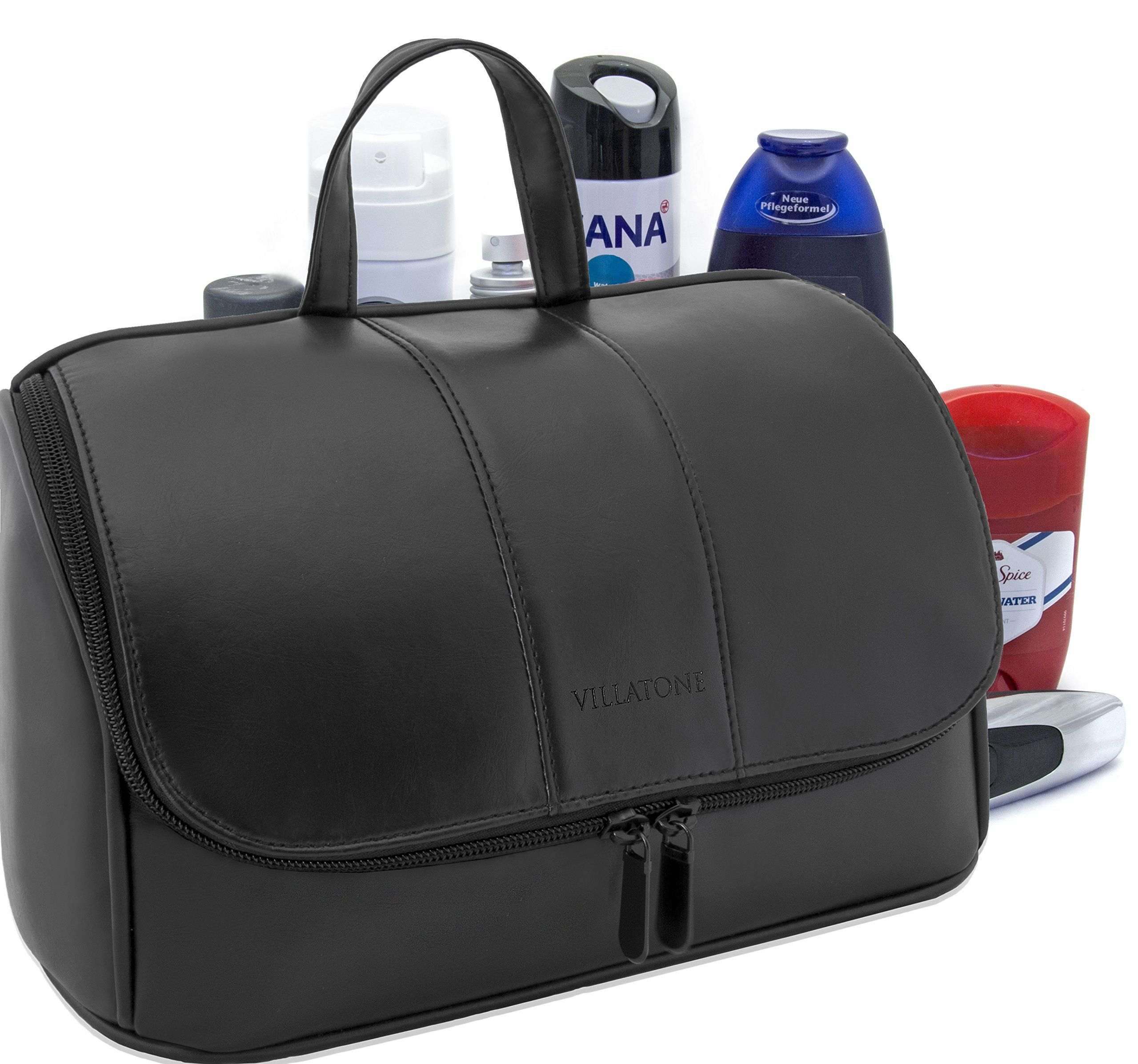 VILLATONE Black Leather Toiletry Bag for Men - Large Hanging Travel  Organizer b3d18765cc1b4
