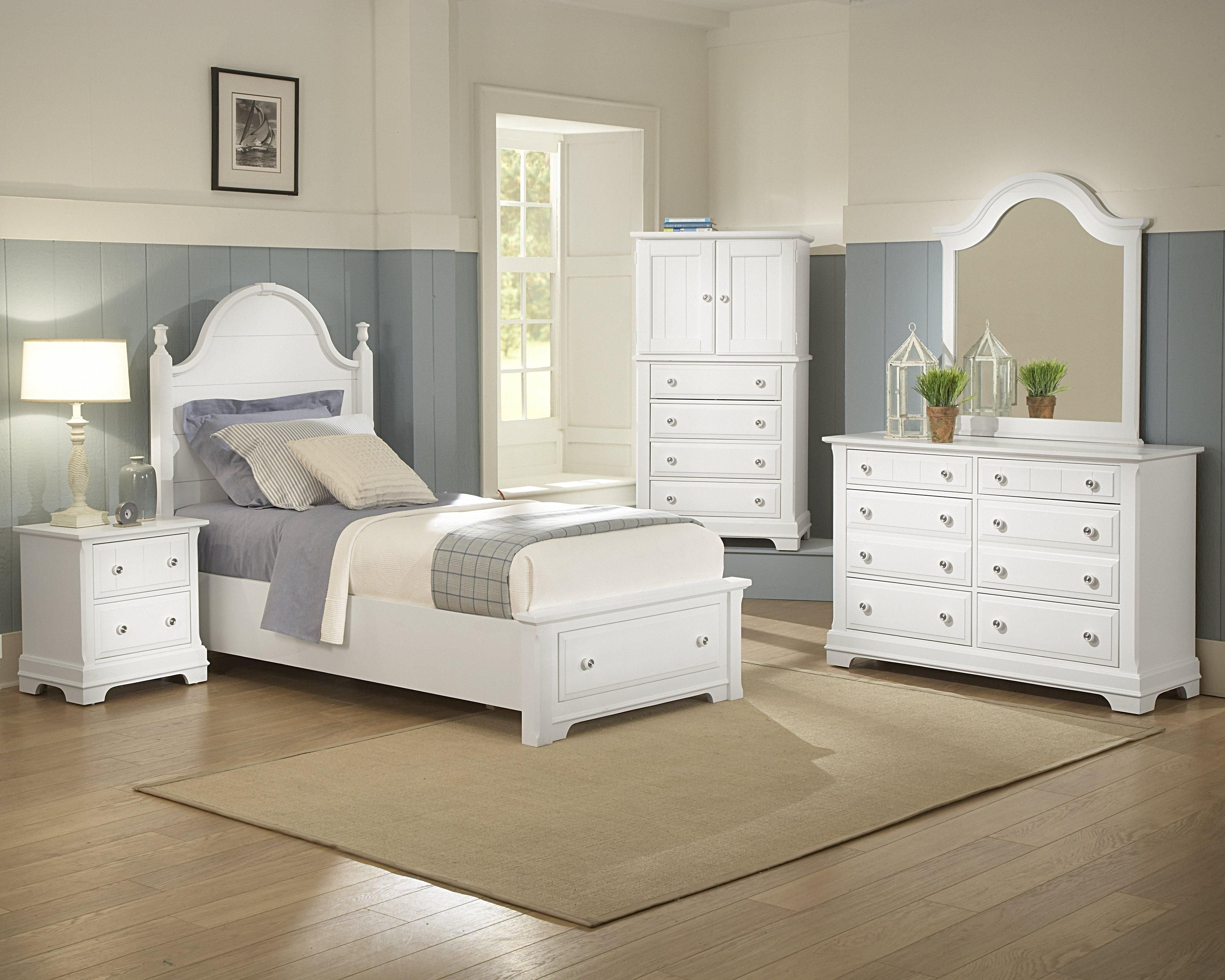 Vaughn Bassett Furniture Cottage Collection Featuring Panel Storage Bed Night Stand Vanity