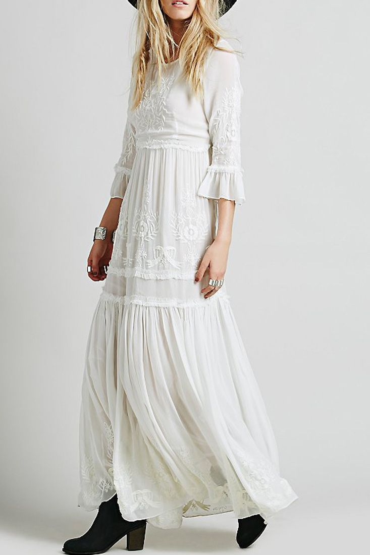 Bohemia floral embroidery flounce sleeve dress floral embroidery