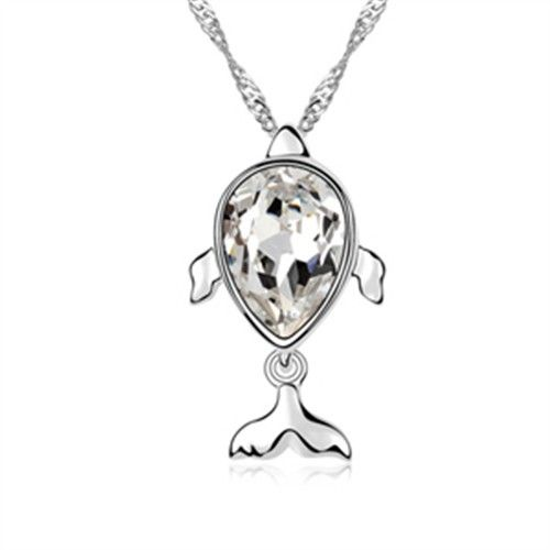 exquisite shine jewellery necklace by swarovski elements fish
