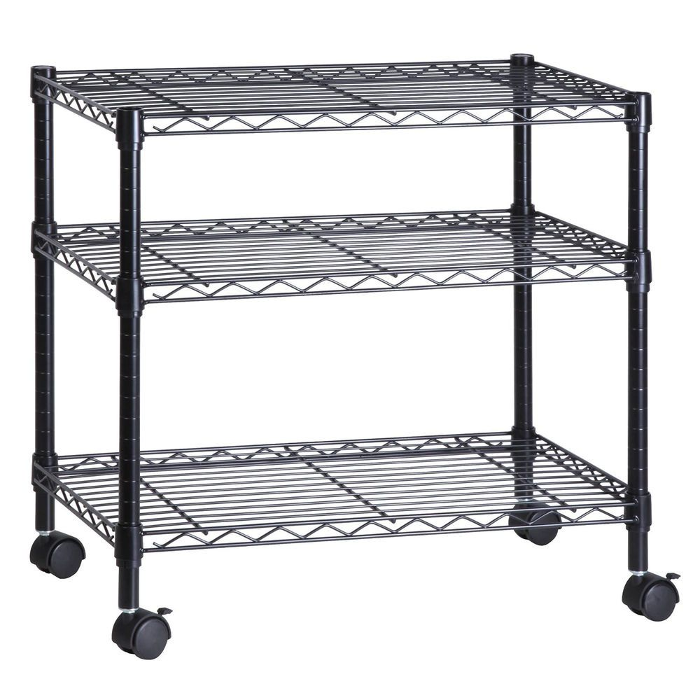 Cart Media Stand Steel Wire Shelves