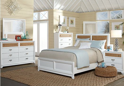 Coastal View 5 Pc Queen Bedroom | Bedding | Antique white ...