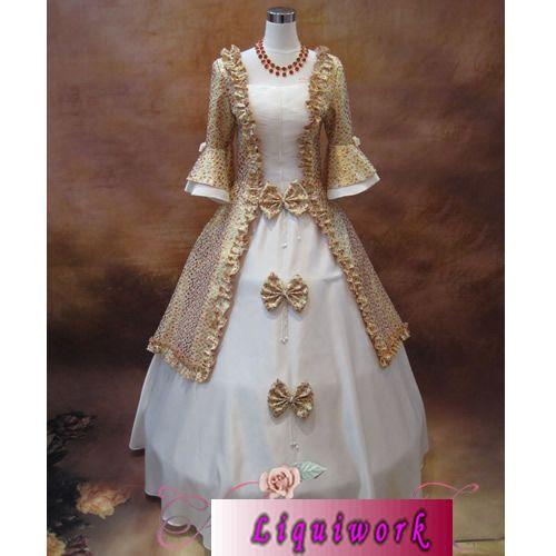 Ivory White Gold Long Sleeve Vintage Pioneer Colonial Wedding Dress SKU 304004