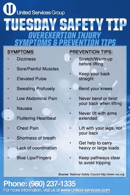 This Week S Tuesday Safety Tip Is About Overexertion Injury