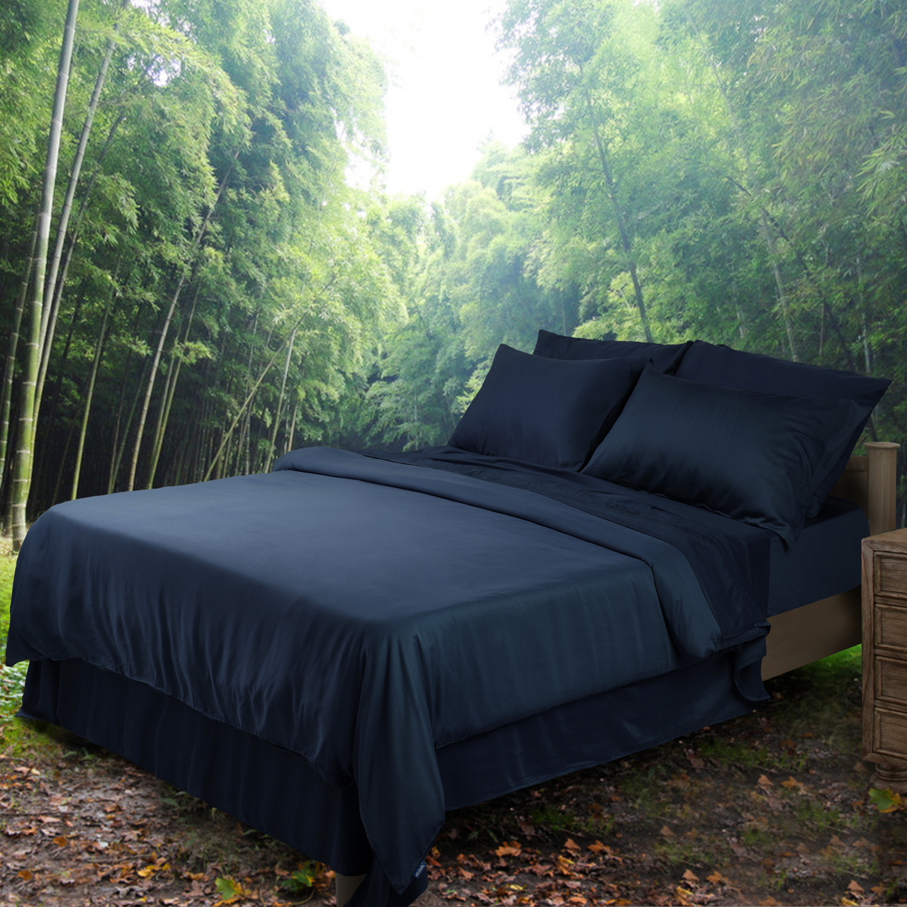 Organic Bamboo Navy Sk Quilt Cover Super King Shop