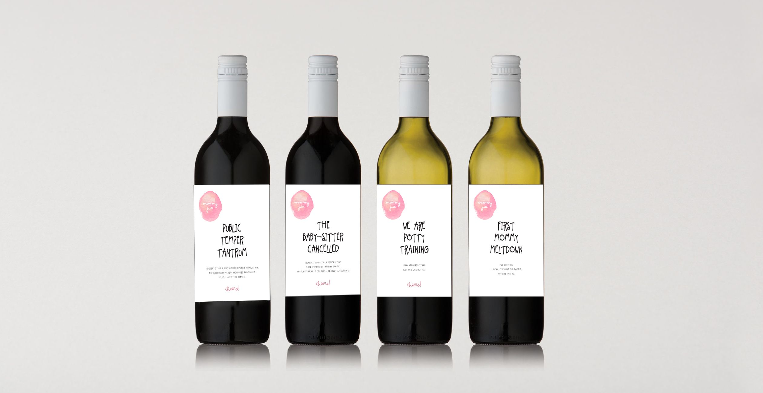 Wine Labels, Mommy Juice, Set of 4, Printable, Digital